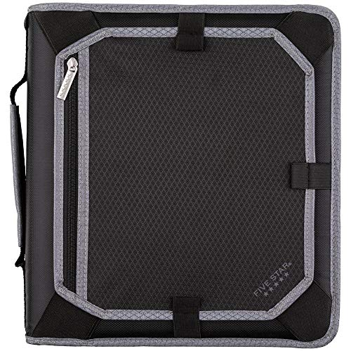 professional 5 star Zip file, 2 inch, 3 ring binder, expansion panel, durable, black / gray (29052IT8)