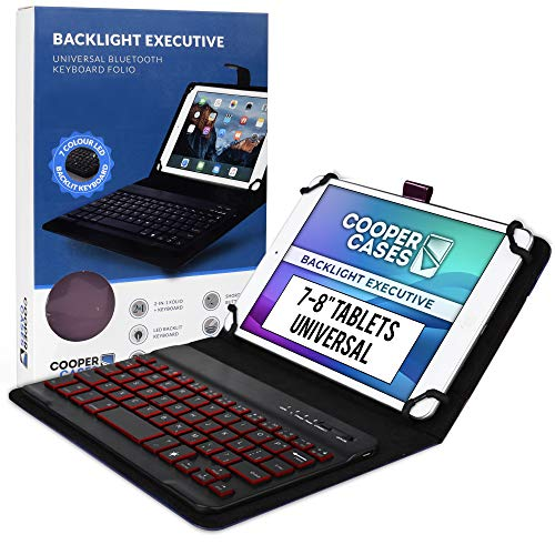 Cooper Backlight Executive Keyboard Case for 7-8 Inch Tablets   Universal Fit   2-in-1 Bluetooth Keyboard & Leather Folio, 7 Color Backlit (Purple)