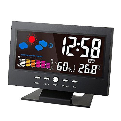 zmart デジタル 温度 湿度計 時計 カレンダー トレンド アラーム 快適レベル ウェザーステーション オリジナル日本語説明書つき