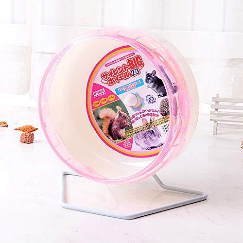 Semaxy 回し車 小動物用 ハムスター サイレントホイール かわいい 小動物玩具 静かで マウストンネル 噛む玩具 ケージに固定可能 運動不足解消 ランニング ホイール 理想的な遊び場 ペット用品 スタンド付き(ピンク)