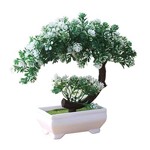 Artily Künstliche Pflanze in Topf-Kunststoff, Kunstpflanzen, Bonsai für drinnen und draußen zu Hause, Garten, Dekoration, Geschenk, Plastik, Blanc vert, 19 * 19cm