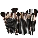 25 unids Pinceles de Maquillaje Set Belleza Fundación Poder Blush Sombra de Ojos Cejas Lash Fan Corrector de Labios Maquillaje de Cara Kit de Cepillos, coffice negro