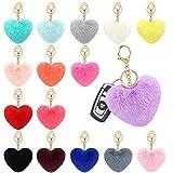 16 pcs Faux Fox Fur Pom Poms Keychain Heart shape Fluffy Puff Ball Key Rings Bulk Diy for Girls Women for Valentine Day Gift (16PCS)