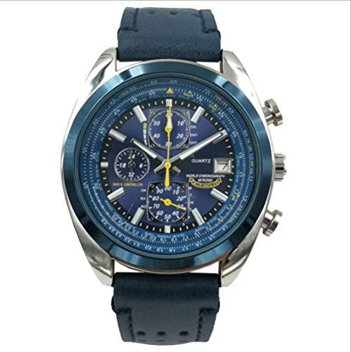 SANDA Reloj Mujer,Reloj de Alta Gama para Hombre, Reloj de Cuarzo con Correa de Acero de Seis Agujas-Azul Cuero Blanco Concha Azul