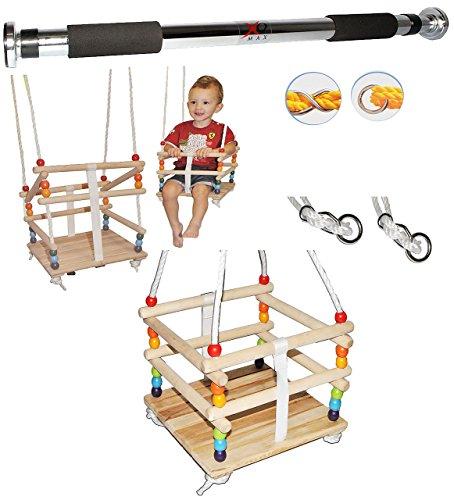 alles-meine.de GmbH 2 TLG. Set _ Gitterschaukel mit abnehmbaren Gurt + Türreck - Babyschaukel / Kinderschaukel - Leichter Einstieg ! - Schaukel aus Holz - mitwachsend & verstellb..