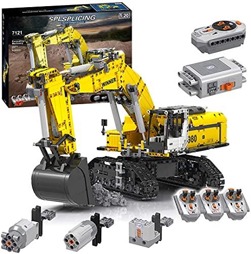 STRTT Technique - Excavadora de Juegos de construcción, 2071 Piezas 2.4G RC - Pala con Mando a Distancia con 6 Motores y 3 receptores, Bloques de construcción Compatible con Lego