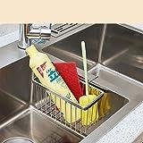 Rejilla para secar platos Fregadero de acero inoxidable de drenaje de almacenamiento en rack rack Colgando agua cesta cesta de tela for lavar platos Estropajo de almacenamiento Organizador de mostrado