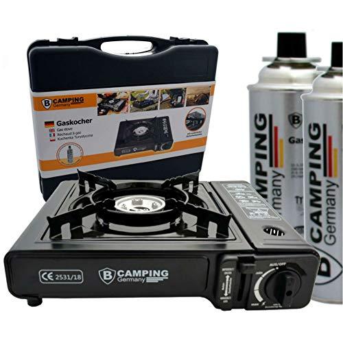 TronicXL Turbo Gaskocher Campingkocher 1-flammig Piezo-Zündung Alu-Brenner + 2X Kartusche Gasflasche Butan + Koffer Set