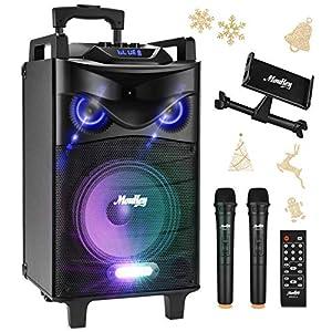 Sistema PA Audio Ricaricabile Moukey Bluetooth Altoparlante Amplificato portatile Impianto Karaoke Natale 540 Watt peak power 10'', ingressi USB SD MP3, due microfoni, supporto tablet, telecomando