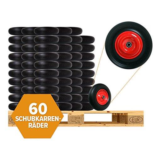 60 Stk. Pannensicheres Schubkarrenrad, PU Vollgummi-Reifen Ø 400mm mit Präzisions-Kugellager, Schubkarren-Reifen auf Stahlfelge | 150 kg Traglast | Reifenbreite 88mm | Achsbohrung 20mm