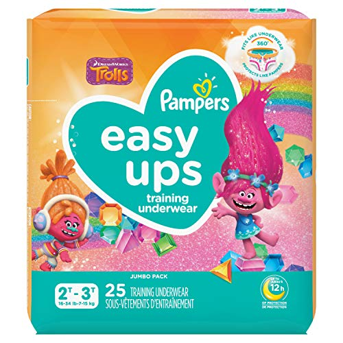 Pampers Easy Ups Training Underwear Girls Size 4 2T-3T 25 Count(Packaging May Vary)