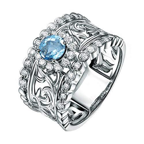 KnBoB Ring für Damen Silber 925 Rund Blau Topas mit Zirkonia Hohl Blatt Ring Größe 61 (19.4)