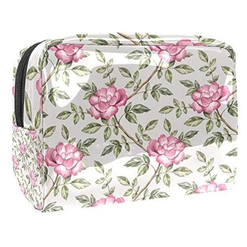 Trousse de maquillage portable avec motif de roses de jardin pour les voyages, les femmes et les hommes Multicolore Couleur 1 18.5x7.5x13cm/7.3x3x5.1in
