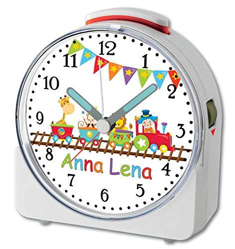 CreaDesign, WU-71-1088, Zug, analog Kinderwecker weiß, Funkwecker mit Sweep-Uhrwerk und fluoreszierenden Zeiger und Licht, personlisiert mit Namen, 10,2 x 4,6 x 11 cm