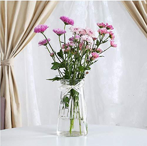 Shunzianson Creatieve conische vaas van gekleurd glas, Europese stijl, eenvoudige verticale vaas met ribstructuur voor woonkamer, decoratie van Scandinavisch vakmanschap