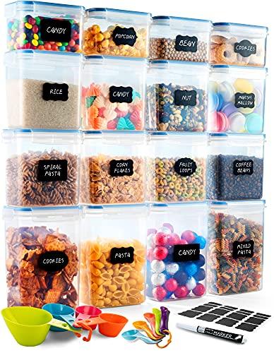Deco haus Vorratsdosen 16 Set - Aufbewahrungsbox Küche Luftdicht Vorratsbehälter - Frischhaltedosen Behälter aus Plastik Mit Deckel - Vorratsgläser zur Aufbewahrung von Nudeln, Müsli, Mehl etc