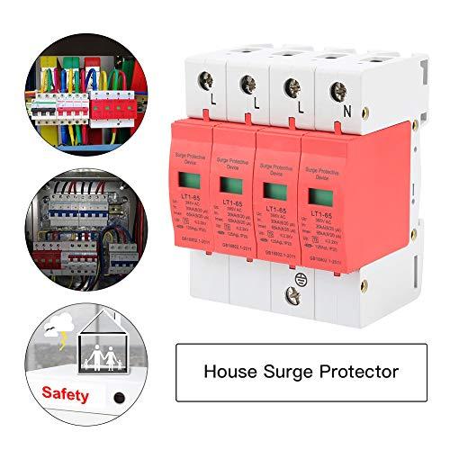 Protector contra Sobretensiones, 4P 30ka-65ka 385V Dispositivo de Supresión de Baja Tensión de Casa Trifásico de Cuatro Cables, Material Ignífugo para PC, Para Sistemas Eléctricos