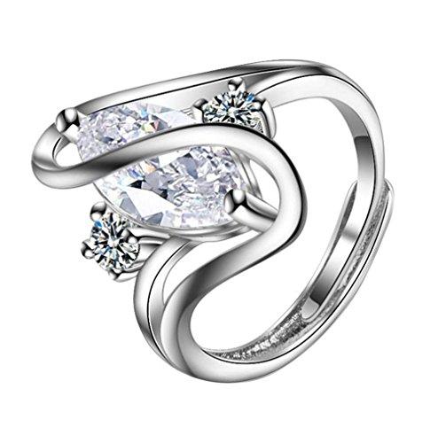AIUIN Anillo de diamantes para mujer, estilo retro, ajustable, con una bolsa de joyería.