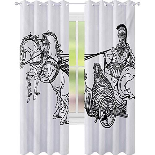 Cortinas térmicas aisladas, estilo guerrero romano en un carro, tiradas por dos caballos histórico, monocromo, cortinas opacas de 52 x 95 para dormitorio, color blanco y negro