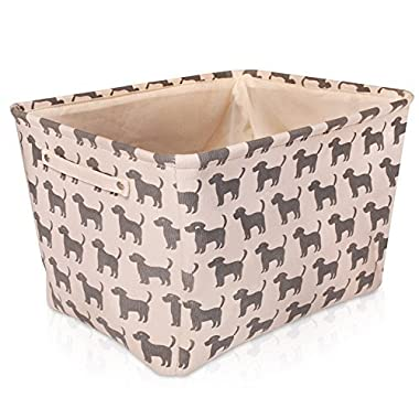 White Dog Canvas Storage Basket - High Quality Box for Household Items or Toys - with Gray Dog Pattern. 16.5in x 12.5in x 7.5in