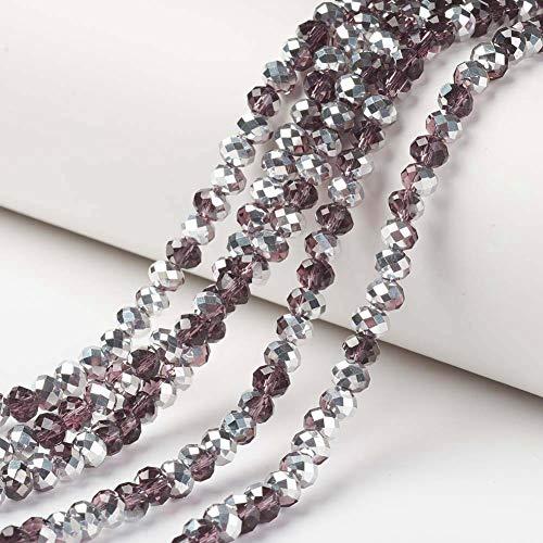 Cheriswelry 10 hebras de cuentas de cristal facetado Rondelle espaciador para hacer pulseras de joyería, marrón coco 8 x 6 mm
