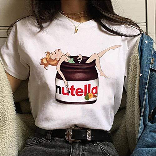 QIANHUA Print T-Shirt Frauen 90er Jahre Harajuku Mode T-Shirt Grafik Niedliche Cartoon T-Shirt Koreanische Stil Top T-Shirts Weiblich, p1574-12-weiß, M.