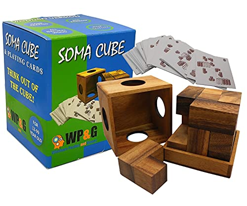 Soma Cube Puzzle Wooden With 50 Playing Cards 3D Brain Teaser In a Large Size
