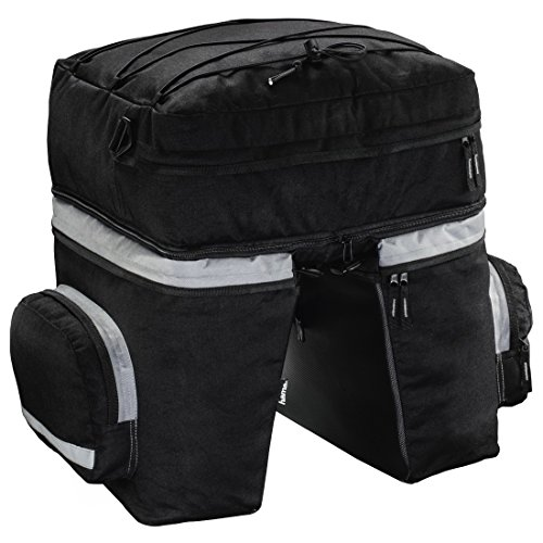 Hama Fahrradtasche für Gepäckträger (3-teiliges Radtaschen Set, abnehmbarer Rucksack, Gepäckträgertasche mit zwei Seitentaschen und Regenhaube) schwarz
