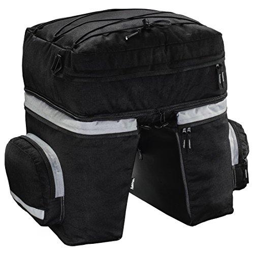 Hama fietstas voor bagagedrager, 3-delige set fietstassen, afneembare rugzak, bagagedragertas met twee zijvakken en regenhoes, zwart