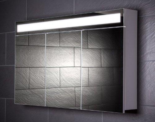 Galdem Spiegelschrank EVEN120 / großer Badezimmerschrank 120cm / 3 türig/mit Beleuchtung T5 Leuchtstofflampe/Softclose Funktion/Steckdose/Badezimmer Spieg