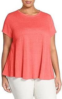 Jewel Neck Organic Linen Sort-Sleeve Top Watermelon Size PS $108