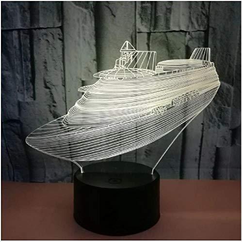 El yate de barco de luz nocturna LED 3D viene con luz de 7 colores para la lámpara de decoración del hogar Visualización increíble Ilusión óptica Impresionante
