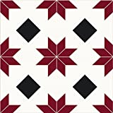 FloorPops FP2482 Orion Peel & Stick Tiles Floor Decal, Red