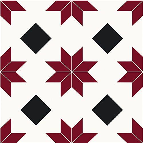WallPops FP2482 Orion - Juego de 10 azulejos para suelo, color rojo