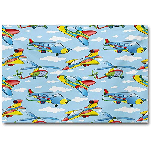 jiyanling Kids Children's Room Wall Decoration No Frame Cartoon Planes and Helicopters in The Air Between Clouds Nursery Toy Artwork Gifts for her Christmas Blue and Yellow L36 x H24 Inch
