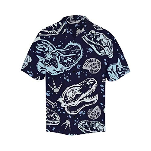 InterestPrint Men's Button-up Short Sleeve Hawaiian V-Neck Shirt Dinosaur Fossils on Dark Blue L