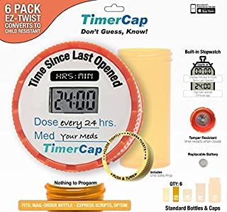 TimerCap Automatically Displays Time Since Last Opened - Built-in Stopwatch Smart Pill Bottle Cap Medication Reminder Case (Qty 6 - Standard 1.8 oz Amber Bottles) EZ -Twist/CRC