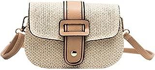 TOOGOO Women'S Hand Bag Straw Bag Shoulder Bag Small Beach Woven Rattan Bag Burlap Square Bag Messenger Bag White