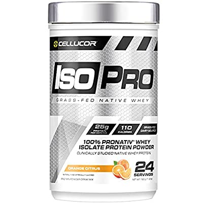 Cellucor Isopro 100% Grass Fed Native Whey Protein Isolate Powder, Orange Citrus, 24 Servings