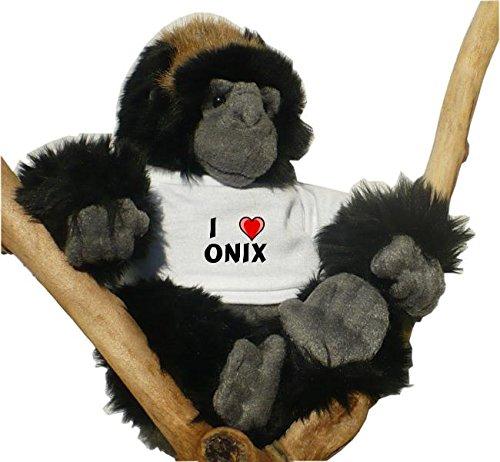 Gorila de peluche (juguete) con Amo Onix en la camiseta (nombre de pila/apellido/apodo)