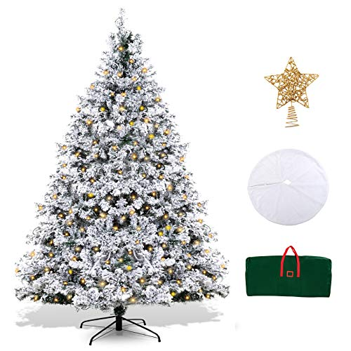 XmasExp 6.5ft Pre-Lit Snow Flocked Artificial Christmas Pine Tree Holiday Decoration with 500T Warm LED Lights, Storage Bag, Topper