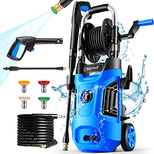 Power Washer, Suyncll Pressure Washer Electric High Pressure Washer 1800W Professional Car Washer Cleaner Machine ,4 Nozzles for Patio Garden Yard...