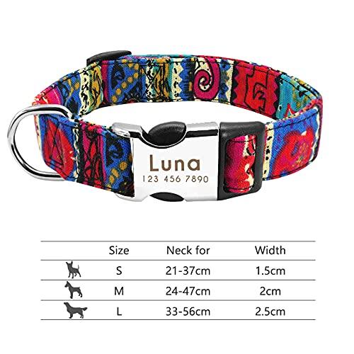 XIAOLANMEI Collar Perro pequeño Collar de Perro Cuello Personalizado Pet Grabado ID de Etiqueta Placa de identificación reflexiva para pequeños Perros Grandes Pitbull Pug (Color : 013 Rose, Size : L)
