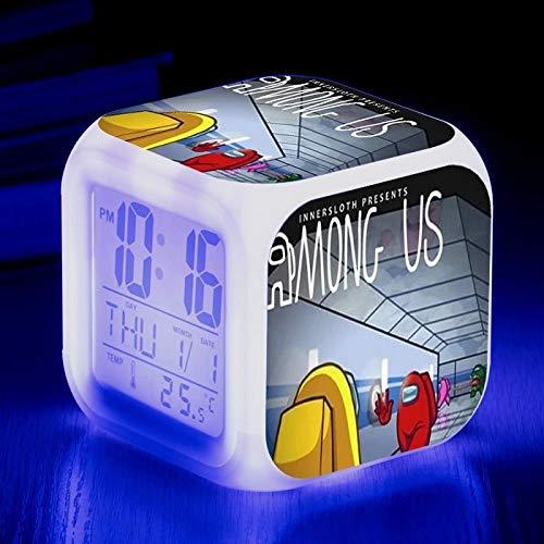 fdgdfgd Reloj Despertador Cuadrado Que Cambia de Color a la Moda Reloj Digital de Dibujos Animados en 3D LED con Reloj Despertador con Fecha de termómetro