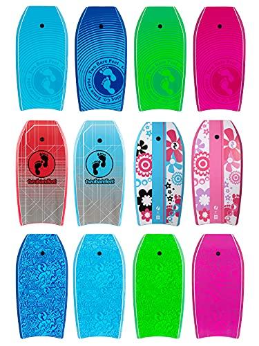 Two Bare Feet 41' (104cm) Slick Board Bodyboard XPE + EVA Core Includes Wrist/Ankle Strap (Blue Lagoon)