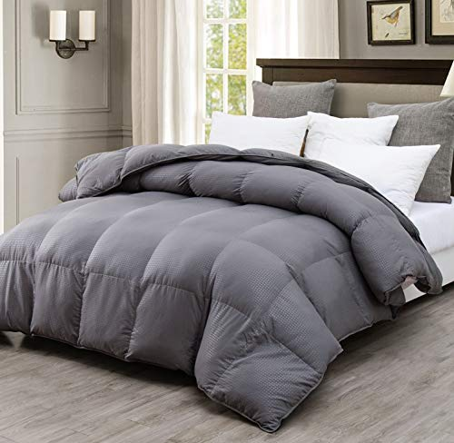 Saisier All Season King Comforter Down Alternative Comforter Plush Microfiber Fill,Duvet Insert with Corner Tabs,Lightweight&Medium Warmth(Grey Checkered,106x90inches)