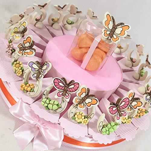 bomboniera con Staffa di Cavallo Portafortuna con Farfalle Colorate, Torta bomboniera con Confetti Rosa + 20 staffe + Farfalla Centrale con plexiglas