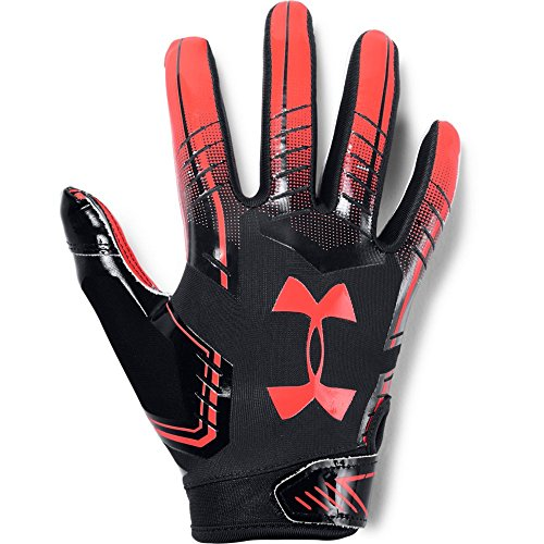 Under Armour boys F6 Youth Football Gloves Black (002)/Neon Coral Youth Small