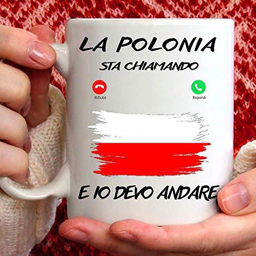 Taza Polonia apta para desayuno, té, tisana, café, capuchino. Gadget Taza la Polonia Mi Sta llamando y yo debo Andare. Idea de regalo original