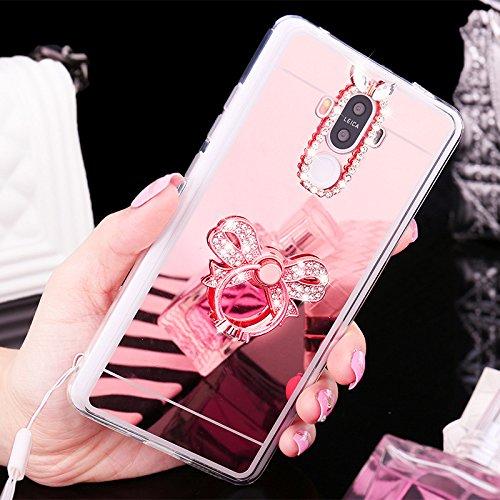 Huawei Honor V8Caso, [con purpurina TPU caso] ikasus Crystal Rhinestone Bling Diamond Glitter caso de maquillaje espejo de goma anillo soporte espejo–Carcasa de TPU para Huawei Honor V8,
